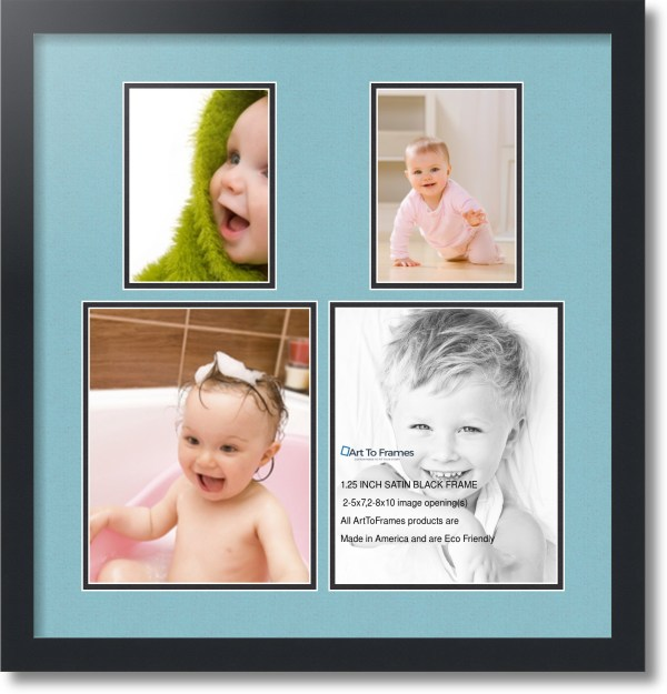 Satin Black Collage Frame With 2 - 8x10 5x7