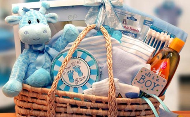 New Arrival Blue Baby Carrier Gift Basket New Baby Gifts