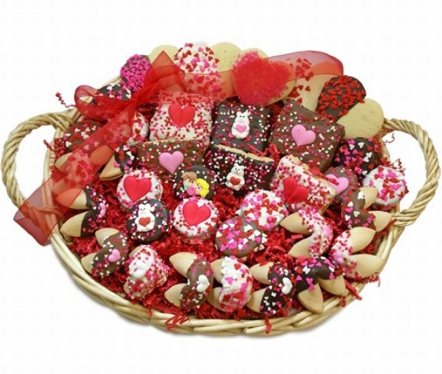 Sweethearts Valentine Gourmet Bakery Gift Basket Filled With Lady Fortunes Belgian Chocolate And Caramel Hand