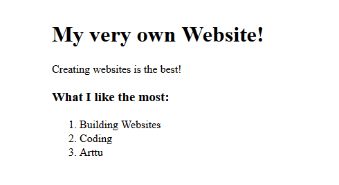 Basic website showing h tags and ordered list HTML elements.