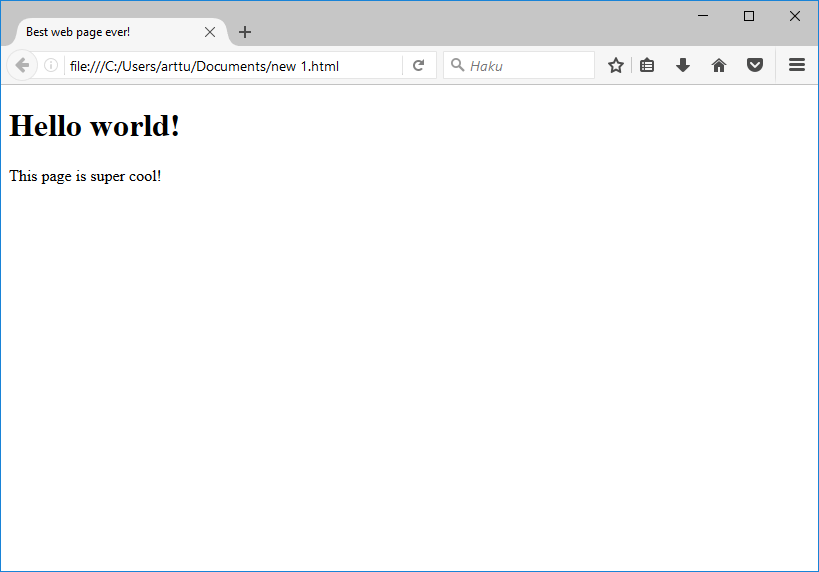 Browser view of the website
