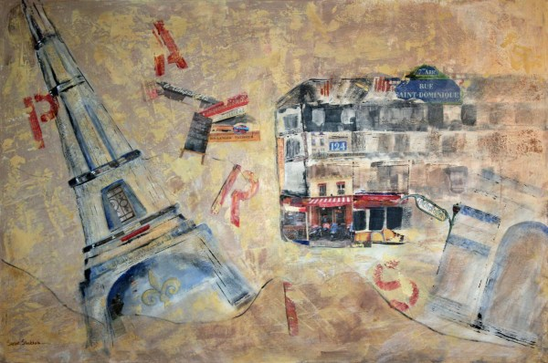 Paris Susie Stockholm Collage And Acrylic Canvas 40 X 60 Art