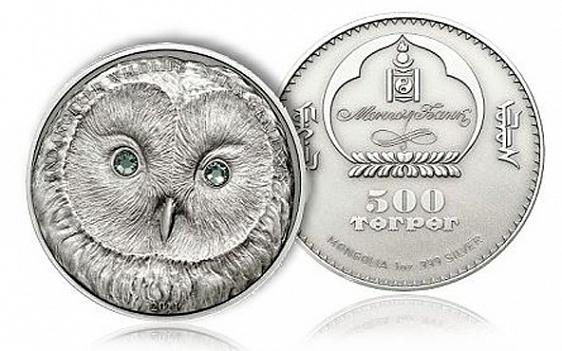 Монголия, 500 тугриков в форме совиной головы с глазами из кристаллов - самая популярная монета