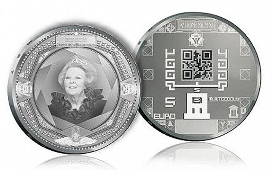 """Нидерланды, серебряные 5 евро с нанесенным на них QR-кодом. Лучшая """"инновационная"""" монета"""