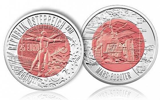 Австрия, 25 евро из серебра и ниобия, посвященные развитию робототехники