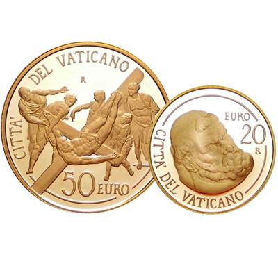 """Ватикан, 50 евро. """"Распятие святого Петра"""". Одна из самых интересных монет из золота"""