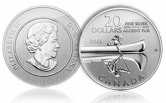 Канада, 20 долларов с отчеканенным каноэ и его отражением. Победитель среди серебряных монет