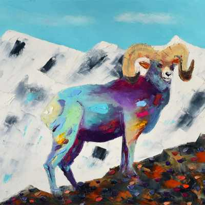 """Bighorn at Estes Park"". Oil. 16""X20"". Original Available."