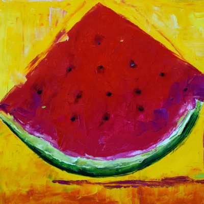 "Una Rebanada de Sandia. Oil. 16""X20"" Original Available for Sale."