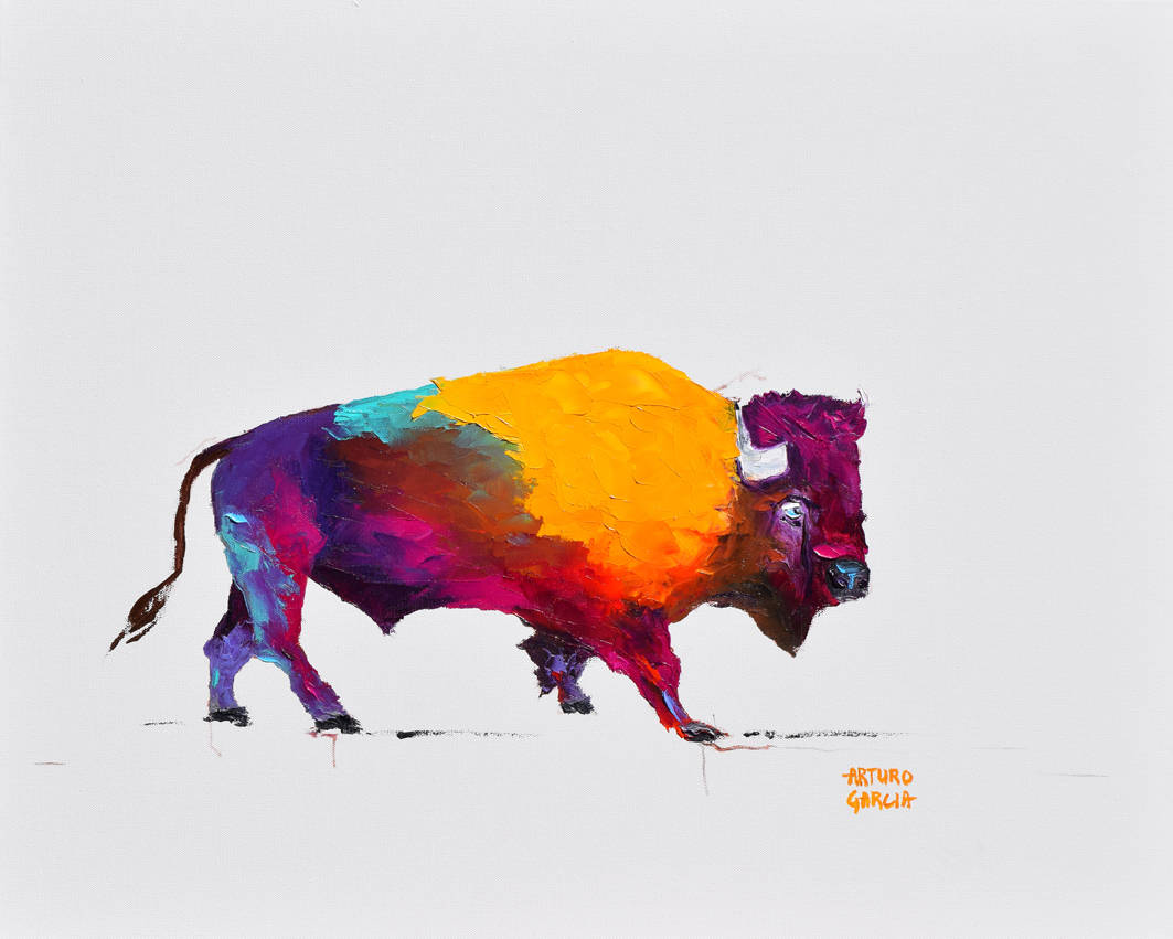 """Buffalo at the Museum. Oil. 24""""X30"""". Original SOLD."""