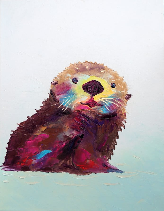"""Otterly Happy. Oil. 14""""X11"""" Available for Sale."""