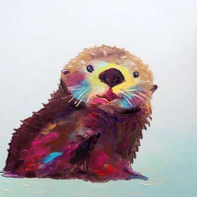 "Otterly Happy. Oil. 14""X11"" Available for Sale."