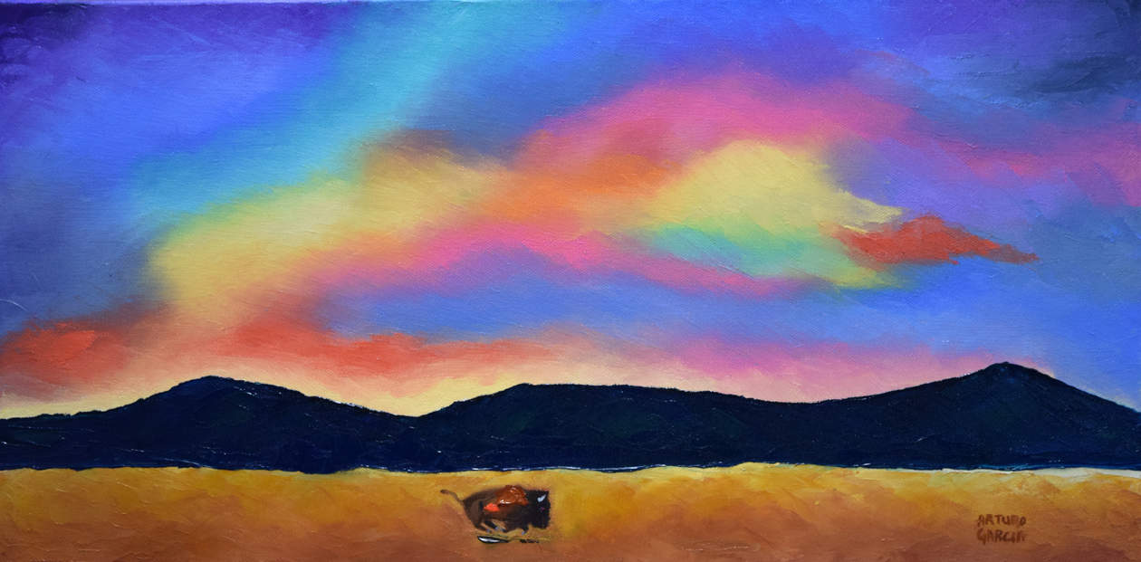 """Skies of Freedom. Oil. 12""""X24"""". SOLD."""