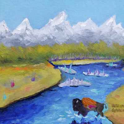 "Teton Blues. Oil. 8""X10"". Original SOLD."