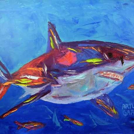"""The Great White. Oil. 16""""X20"""""""