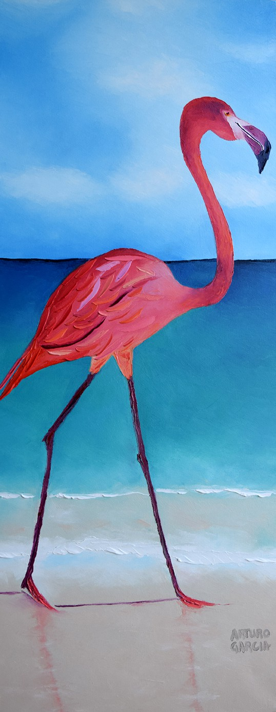 "Flaming Flamingo. Oil. 40""X16"". Original SOLD."