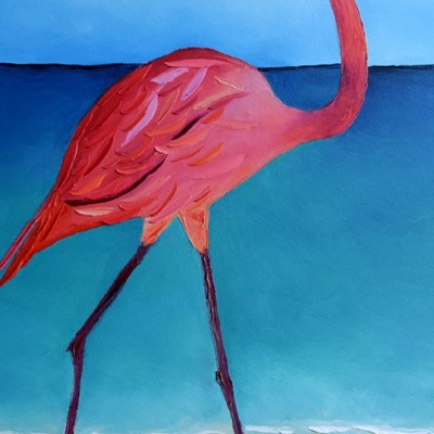 "Flaming Flamingo. Oil. 40""X16"". Original SOLD."