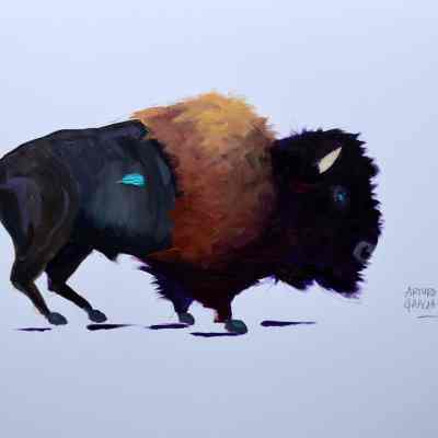 Tatanka White Background. Acrylic on Fine Finch Paper. Original Available.