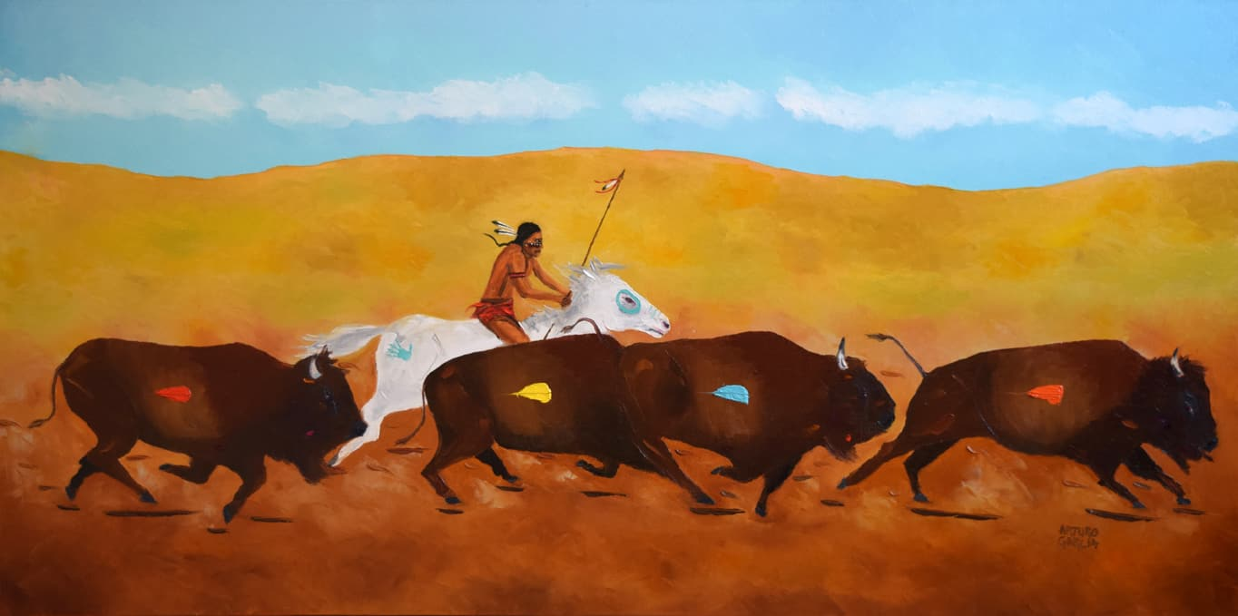 """The Plains Hunter. Oil. 24""""X48"""". Original Available for Sale."""