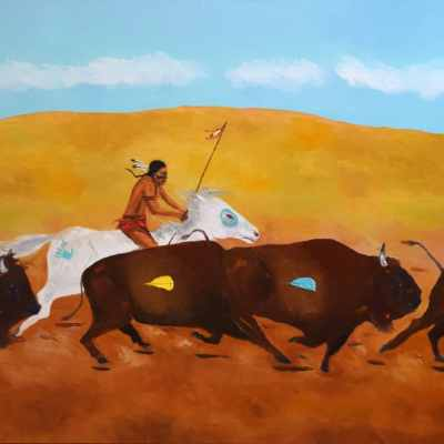 """The Plains Hunter. Oil. 24""""X48"""". Not Available for Sale."""