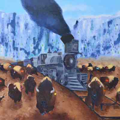 """The Iron Horse. Oil. 36""""X48"""". Not Available for Sale."""