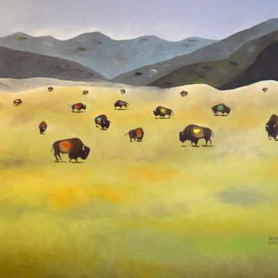 "Where the Buffalo Roam. Oil. 36""X48"". Not Available for Sale."