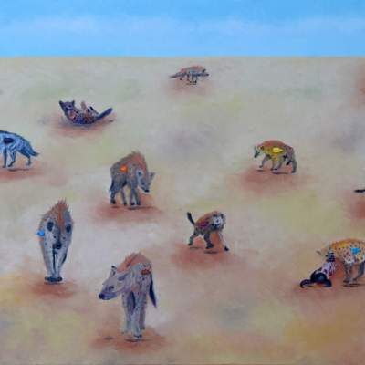 "Party at the Savanna. Oil. 24""X48"" Available"