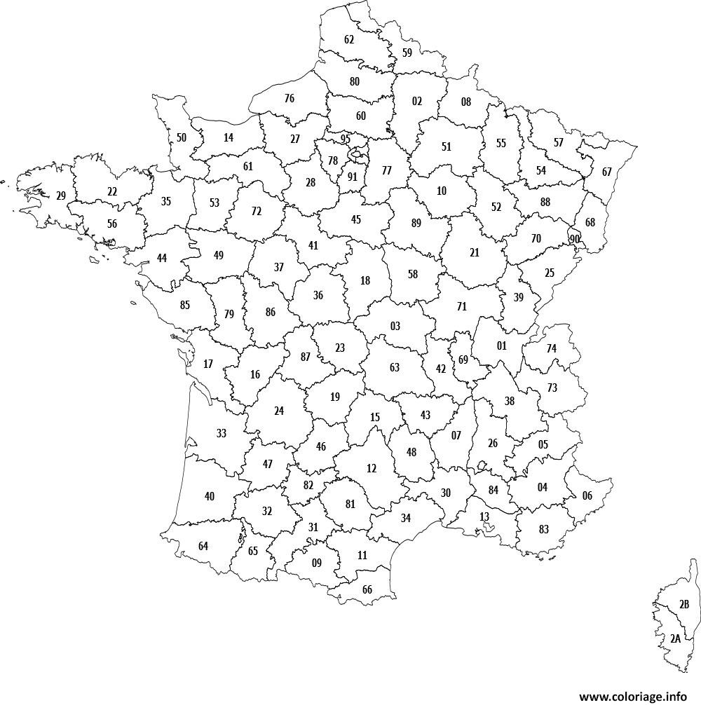 colorier une carte de france par departement - Les cartes de france et région