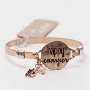 Happy Camper Wire Bracelet - Goldtone