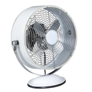 White Retro Swivel Deco Breeze USB Table Fan