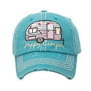 Happy Camper Washed Vintage Hat - Turquoise