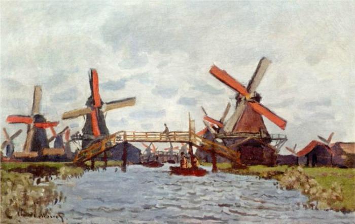 Monet_windmills-near-zaandam-windmills at zaanse schans