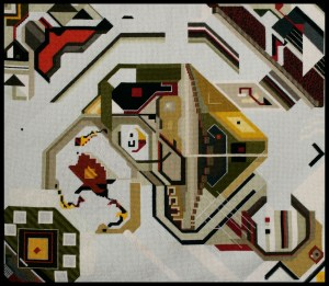Mark Olshansky abstract needlepoint 5-cornered universe
