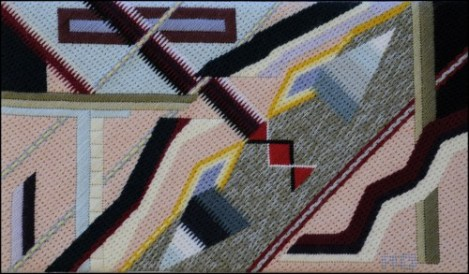 Mark Olshansky abstract needlepoint Face in the River