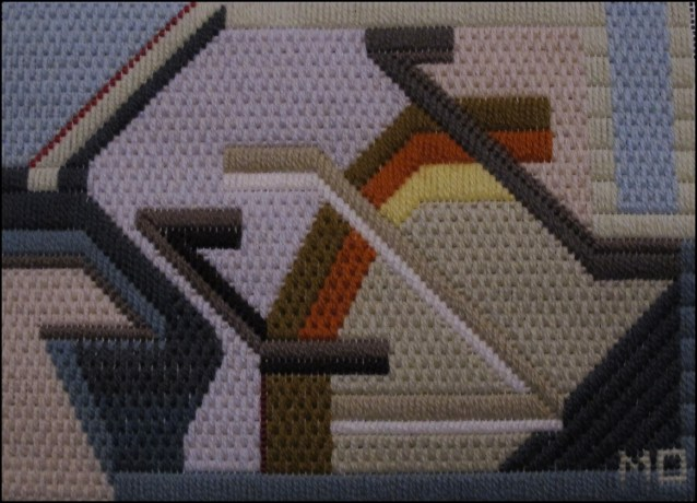 Mark Olshansky abstract needlepoint Fall Mini 2