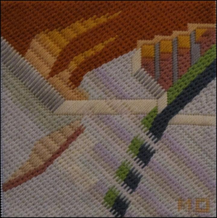 Mark Olshansky abstract needlepoint Fall Mini 3