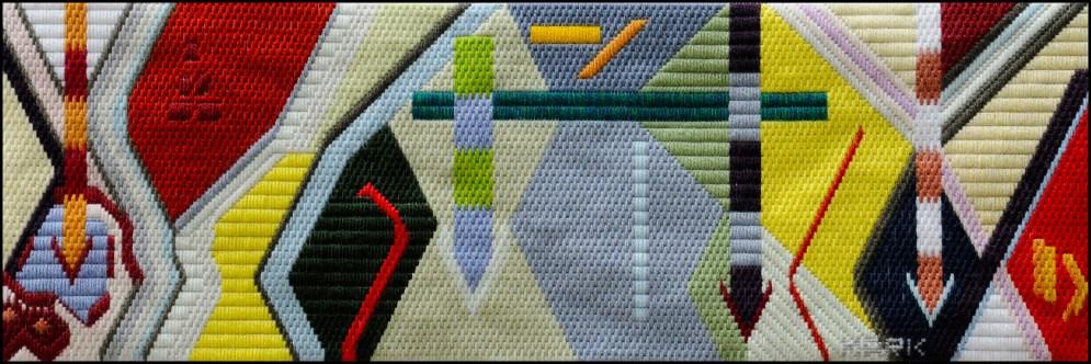 Mark Olshansky abstract needlepoint Fallen Arrows