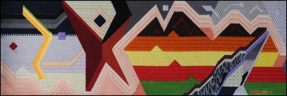 Mark Olshansky abstract needlepoint Nightfall at Jello Mountain
