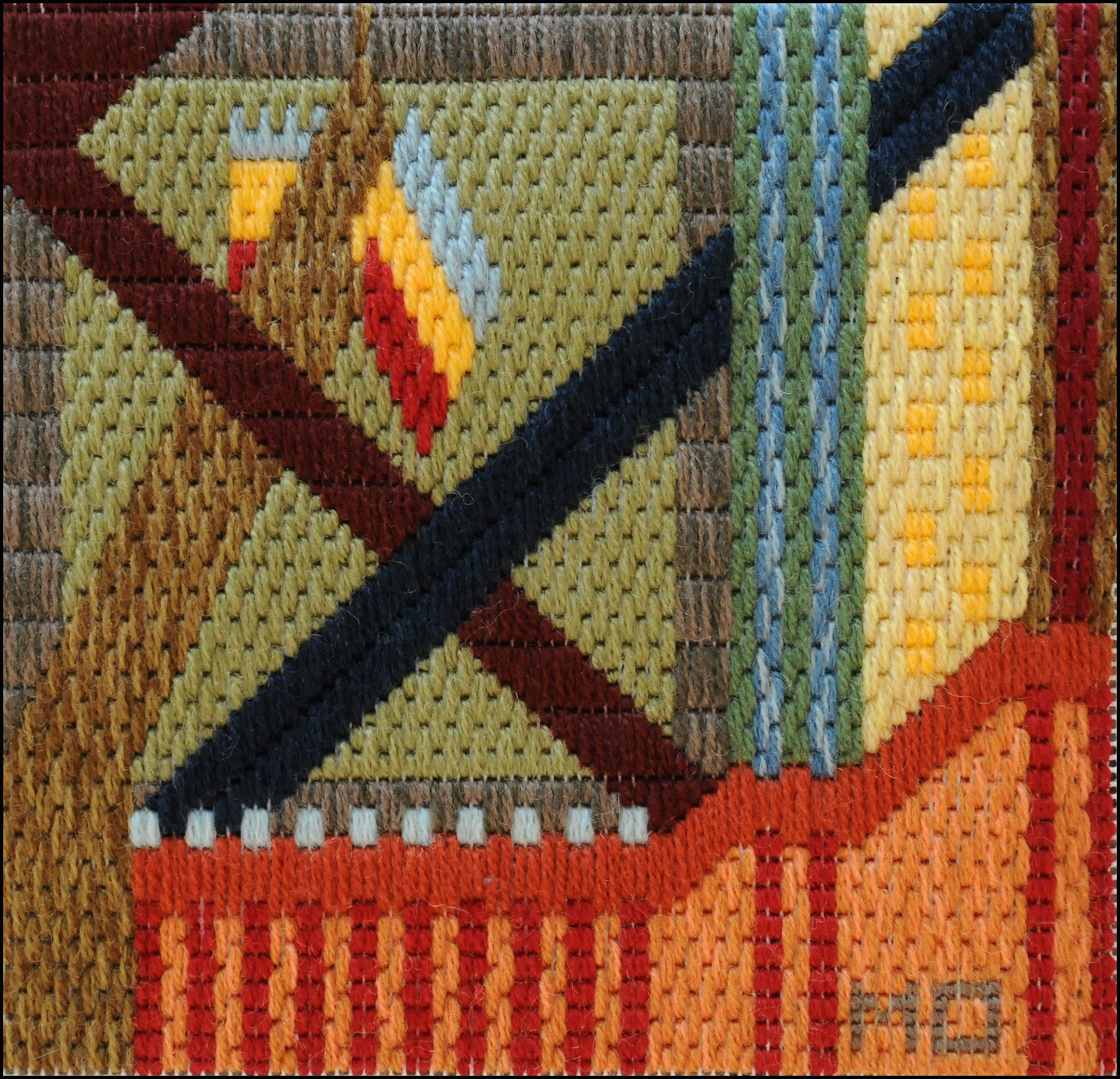 Mark Olshansky abstract needlepoint Last Flag