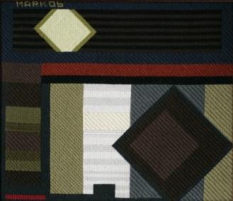 Mark Olshansky abstract needlepoint Windowshade #4