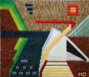 Mark Olshansky abstract needlepoint Prairie Hut