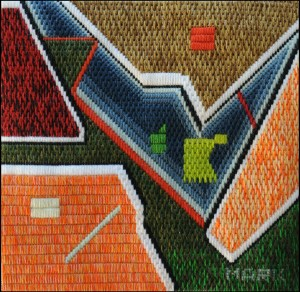 Mark Olshansky abstract needlepoint Hopi Music