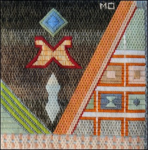 Mark Olshansky abstract needlepoint Pueblo Kitchen