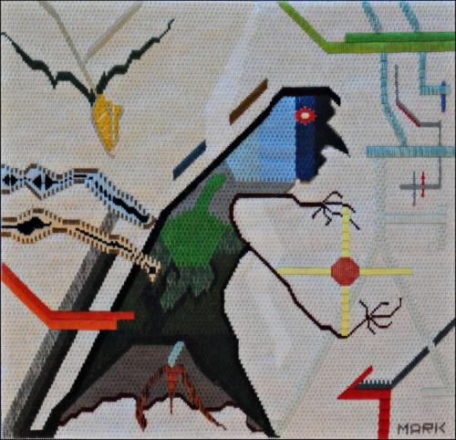 Mark Olshansky abstract needlepoint Dream Catcher