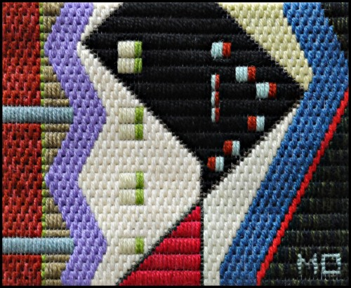 Mark Olshansky abstract needlepoint Black Martini