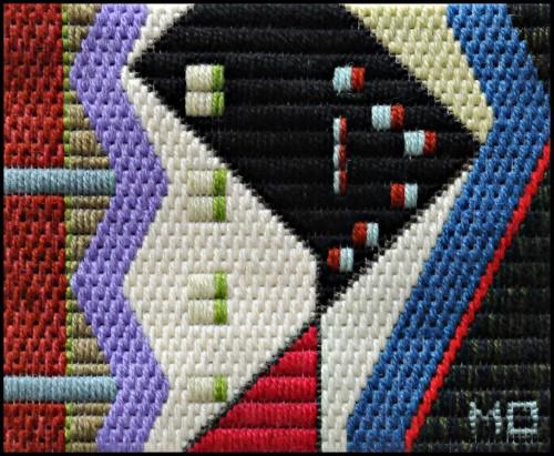 Mark Olshansky abstract needlepoint Black Martini