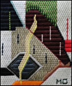 Mark Olshansky abstract needlepoint Buck Rogers' Halibut