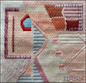 Mark Olshansky abstract needlepoint Rosé
