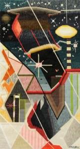 Mark Olshansky abstract needlepoint Chicken Galaxy