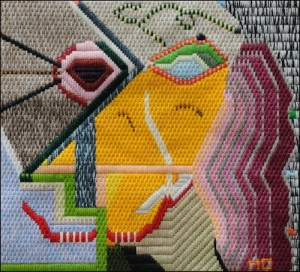 Mark Olshansky abstract needlepoint Ladies Luck